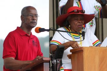 Former Legislator and staunch NDP supporter Mrs Eileene L. Parsons OBE (right) has stood by her letter to the party back in November 2016, including that the portfolio of finance be taken from Premier Dr The Hon D. Orlando Smith OBE (left). Photo: VINO/File
