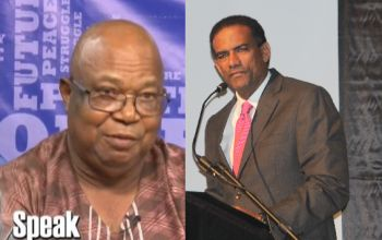 Left: Talk show host John Lewis. Right: Minister for Natural Resources and Labour Dr The Hon Kedrick D. Pickering has dubbed the airport project a done deal. Photo: VINO/File