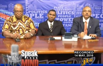 From left: John Lewis, Devin S. George and Richard C. de Castro on the Speak Your Mind show on May 14, 2016. Photo: Youtube