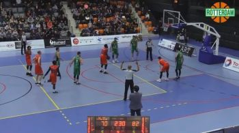 Norville S. Carey at the free throw line for New Heroes against Rotterdam on Saturday January 13, 2018. Photo: Youtube