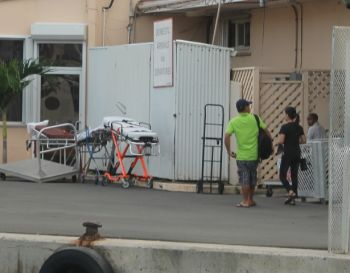 Stretchers seen at the ferry dock after the accident occurred today, December 25, 2012. Photo:VINO