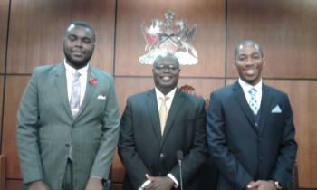 From left: Trinidad and Tobago Youth Parliament's Prime Minister, Mr Shane John; Speaker of the House of Assembly of the Virgin Islands, Hon Julian Willock and Trinidad and Tobago Youth Parliament's Speaker, Mr Khaleed Toussaint. Photo: HoA