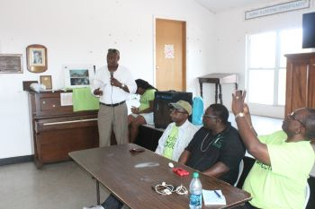 On Sunday, the VIP's pick for a candidate for the Ninth District Elton L. Sprauve was introduced to the people of Anegada. Photo: VINO