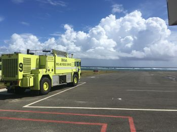 A new Crash Fire Tender is in place and the landing strip which was badly damaged has been regraded and is ready to receive flights at the Airport. Photo: Provided