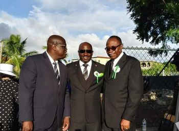 From left: Speaker of the House of Assembly, Hon Julian Willock; Mr Thomas C. Famous; and Third District Representative, Hon Julian Fraser, RA. Photo: Provided