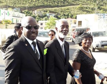 Mr Thomas C. Famous with former Speaker of the Virgin Islands House of Assembly and artist, Mr Reuben Vanterpool, second from left, during the funeral procession for the late Hon Ralph T. O'Neal, OBE on December 11, 2019. Photo: Provided