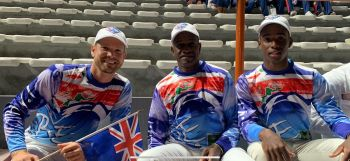 From left: Sailing coach Alec Anderson; Laser Sailor and flag bearer Thad A. Lettsome; and Chef de Mission Lindel Hodge aka 'Chef', right, at the opening ceremony of the Pan Am Games in Lima, Peru, on Friday, July 26, 2019. Photo: Dean H. Greenaway aka 'The Sportsman'