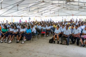 Newly formed group, Tortola Race Wars (TRW) recently made a stop at the Elmore Stoutt High School (ESHS) where its presentations on road safety were well received by both students and teachers of the school. Photo: Provided