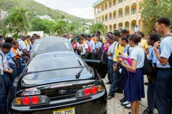 ESHS students getting an up close and personal look at a modified car. Photo: Photo: Provided