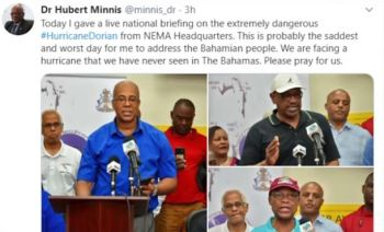 The Prime Minister of The Bahamas, Dr. Hubert A. Minnis, took to social media to ask the world to pray for the islands. Photo: Twitter