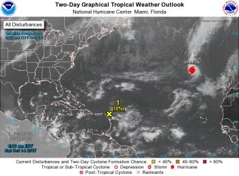According to the National Hurricane Centre, radar and surface observations from the eastern Caribbean indicate that a broad area of low pressure is gradually approaching the Leeward Islands. Photo: NHC