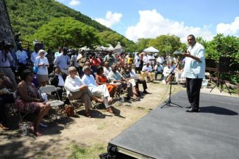 USVI Governor John P. de Jongh Jr., delivers remarks at USVI/VI Friendship Day at Annaberg Plantation on St. John, USVI on Saturday 20, October 2012. Photo: USVI Governor's Office