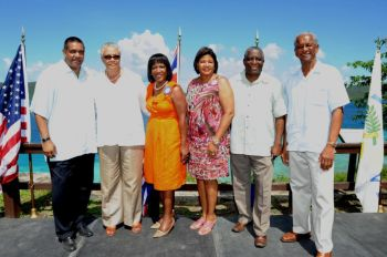 (From left to right) Governor John P. de Jongh, Jr., VI Deputy Governor Mrs. V. Inez Archibald, Mrs. Cheryl Francis wife of Lt. Governor, USVI First Lady Cecile de Jongh, Lieutenant Governor Gregory R. Francis, and VI Premier Dr. the Honorable D. Orlando Smith at Annaberg Plantation on St. John USVI on Saturday October 20, 2012 -- site of the 39th USVI/VI Friendship Day. Photo: USVI Governor's Office