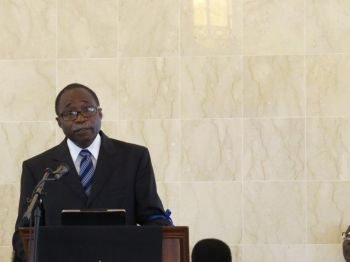 Honourable Julian Fraser RA, Third District Representative reading the eulogy during the funeral service. Photo: Provided
