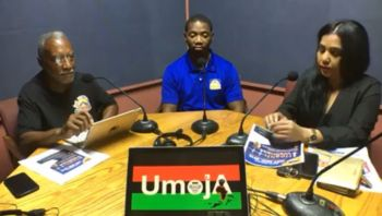 Mr Cromwell Smith aka Edju En Ka was at the time interviewing personnel from Hire BVI, in addition to Simone T. Monsanto (Right), Director of Caribbean Insurers Limited and Jerry R. Smith (Centre), Managing Director of Therapy Works LLC on his show Umoja on ZBVI 780AM on May 9, 2019. Photo: Facebook