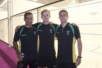 Squash players, Joe Chapman and Neville Sorrentino and Coach Adam Murrills on the first day of competition at the Gold Coast 2018 Commonwealth Games. Photo: BVICGA