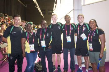 Squash player Neville Sorrentino, Mrs. Juliet Penn, Ephraim Penn - BVICGA President, Squash player Joe Chapman, Dr The Honourable Kedrick D. Pickering, Deputy Premier and Minister for Natural Resources and Labour, Squash coach, Adam Murrills, and Mrs. Alice M. Pickering on the first day of competition at the Gold Coast 2018 Commonwealth Games. Photo: BVICGA
