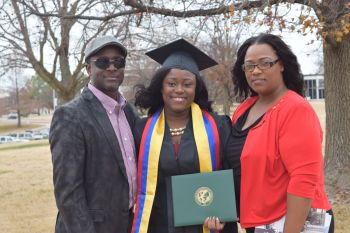 Aliyah Y. Leonard graduated from Missouri Southern State University in December 2015 with a Bachelor's Degree in Biology and a Minor in Spanish. Here she is flanked by her proud parents Dawn U. Leonard and Linton V. Leonard. Photo: Provided