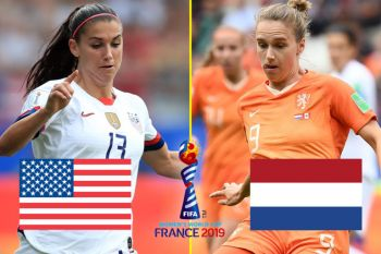 The FIFA Women's World Cup final will be played between USA and Netherlands from 11:00am at the Stade de Lyon in France on July 7, 2019. Photo: FootyRoom.net