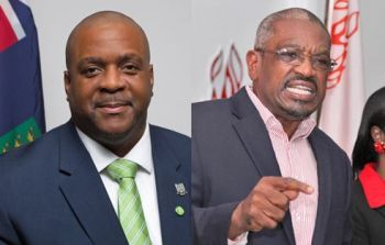 Premier and Minister of Finance, Honourable Andrew A. Fahie (R1), left, has been in communication with Prime Minister of Bahamas, Dr Hubert A. Minnis, right, on a daily basis since Hurricane Dorian made its destructive landfall on those shores. Photo: GIS/File/Internet Source