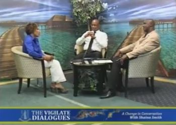 Members of the panel discussion on Vigilate Dialogues on May 22, 2017 were, from left, host Ms Shaina M. Smith, former Managing Director of the BVI Ports Authority (BVIPA) Mr Claude O. Skelton-Cline, and Managing Director of Relyon Media Group Mr Elton Callwood. Photo: Youtube