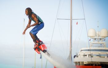 Joshua N. Wheatley on the Flyboard. Business has literally taken off with the introduction of Flyboarding to Blue Rush Water Sports. Photo: Provided