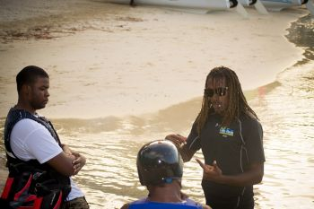 Interacting with customers of Blue Rush Water Sports. Photo: Provided