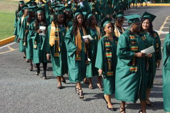 It was a long procession of mostly female graduands. Photo: Andre 'Shadow' Dawson