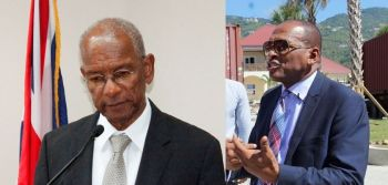 Premier Dr. The Hon. D Orlando Smith (left) advised Governor John S. Duncan, OBE to dissolve the House of Assembly and set elections for June 8, 2015 a week after the Ports project was opened. Minister of Communications and Works, Hon. Mark Vanterpool (right) allegedly promised Mr. Skelton-Cline that his contract will be renewed.Photo: VINO/File