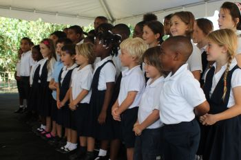 Students of St. Mary's Primary singing in support of farming in Virgin Gorda. Photo: VINO