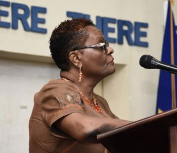BWU President Linda Brooks during her remarks. Photo: Barbados Advocate