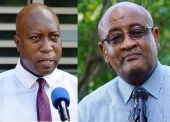Hon Ronnie W. Skelton (right), is now in a fight for his political future, coming up against newcomer, Education and Culture Minister, Honourable Myron V. Walwyn, who is also contesting the internal election, for the post of President of the party. Photo: VINO/File