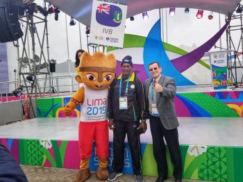 Chef de Mission Lindel Hodge aka 'Chef', centre, represented the Virgin Islands at the welcoming ceremony in Lima, Peru as unforeseen travel delays prevented other officials from attending the traditional welcome ceremony. Photo: Dean H. Greenaway aka 'The Sportsman