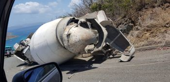 Concrete truck overturns in North Sound, Virgin Gorda. Photo: Team of Reporters