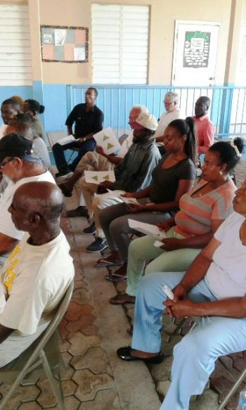 Leader of the Opposition, Honourable Andrew A. Fahie (R1), on June 18, 2018, took another meeting to the residents of the sister islands—this time to Anegada,—to listen to their issues and bring forward solutions. Photo: Team of Reporters