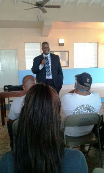 At the end of his well-received presentation, Hon Andrew A. Fahie opened the floor for an interactive questions and answers session where Anegada residents, raised concerns. Photo: Team of Reporters