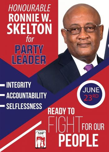 """According to Hon Skelton, """"I need your support so that together we can start writing the next exciting chapter of our Virgin Islands …Vote for me your selfless servant Ronnie W. Skelton for president of the NDP. Photo: VINO/File"""
