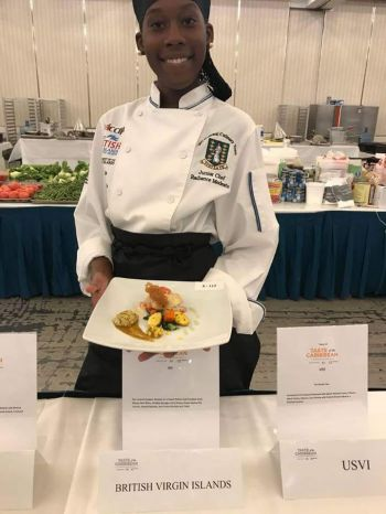 Virgin Gorda native and VI School of Technical Studies student, Radiance Modeste—reportedly the youngest in the competition at 17-years-old—was adjudged the overall winner of the seafood competition. Photo: Team of Reporters