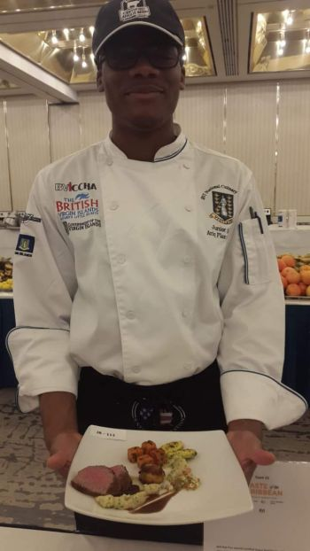 Ariq F. Clarke, also of Virgin Gorda, secured a silver medal in the Junior Chef of the Year Competition and an honourable mention in the 'Certified Angus Beef Competition.'Photo: Team of Reporters