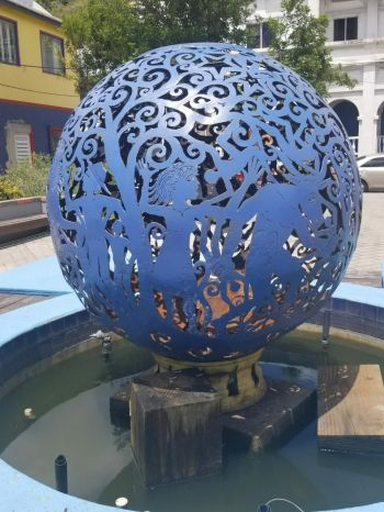 The 'ball' was placed at the Sir Olva Georges Plaza, next to the hurricane ravaged Police Headquarters. Photo: Team of Reporters