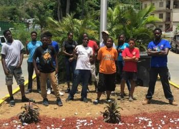 It was on August 20, 2018, that many of the children laboured and decorated the area with plants close to the Sunrise Bakery in Purcell Estate on Tortola. Photo: Team of Reporters