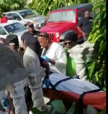 Allen Peters body being removed from the home earlier today September 2, 2018. Photo: Team of Reporters