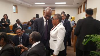 Premier Smith shares a moment with Chief Justice Pereira. Photo: VINO