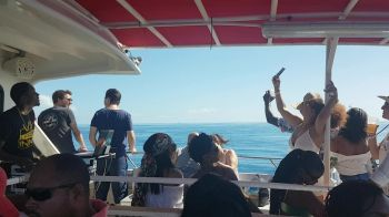 Partying on a boat anchored off Anegada for 'Lobster Fest.' Photo: Team of Reporters