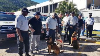Riddick, Bosco, and Pattie are the three new four-legged K9 Officers of the Royal Virgin Islands Police Force. Photo: Team of Reporters