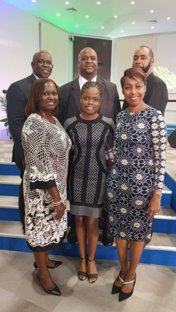 VIP Chairman, Hon Andrew A. Fahie (Top centre) is flanked by VIP At-Large Candidates, (Clockwise) Mr Neville A, Smith, social activist Ms Sharie B. deCastro, Educator and Businesswomen Ms Arlene L. Smith-Thompson (D3), former VIP Party President, Mr Carvin Malone along with Ms Luce Hodge-Smith for D4 (Bottom Left). Photo: Team of Reporters.