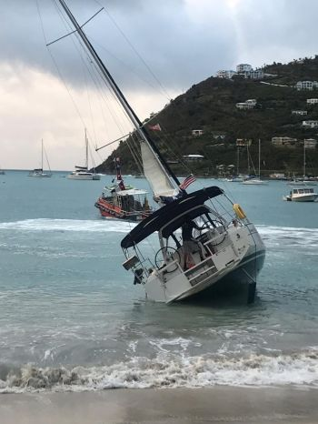 They warned via the Antigua and Barbuda Meteorological Services that waves swells could reach as high as 10 feet. Well, last night Thursday, January 24, 2019, a Yacht ran around in the waters of the beach on Cane Garden Bay. Photo: Team of Reporters