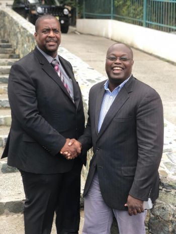 """In his inaugural speech, Hon Willock expressed gratitude first to God, his family and to the VIP team for granting him the opportunity to serve in the capacity, """"I wish to personally thank Premier Hon Andrew A. Fahie and his entire team for the confidence reposed in me... I am aware you had a long list of choices and options,"""" he told those gathered at the swearing-in. Photo: Team of Reporters"""