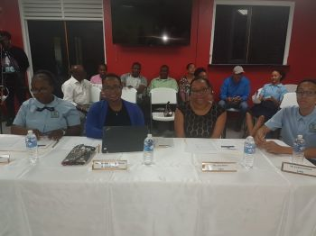 Team of judges led by Magistrate Ayanna O. Baptiste-DaBreo. The other judges were Jian S. K. Jeffers along with ESHS students Akeya Herbert and Jordan Dawson. Photo: VINO