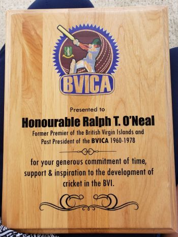 Presented by BVICA President Vajendra Bharat, further, the plaque was an expression of appreciation for his acceptance of the naming of the Tournament trophy after him, O'Neal. Photo: VINO